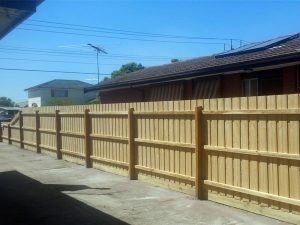 Timber paling fence
